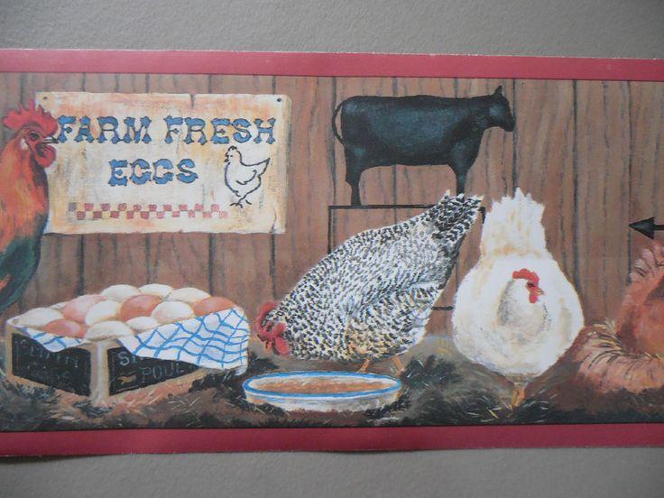 Country Chicken Coop Farm Fresh Eggs Wallpaper Border 6 X