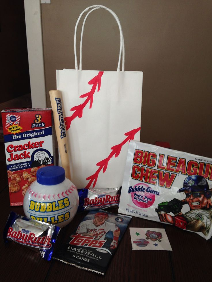 Baseball themed party favor bag includes dollar store