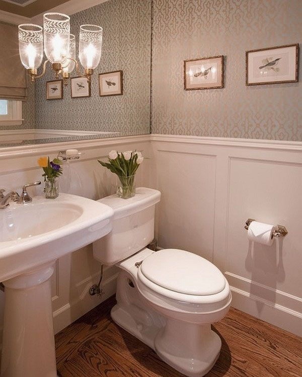 half bath with chandelier traditional