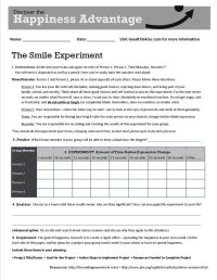 This is GoodThink's Smile Experiment worksheet that turns