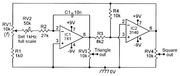 100Hz-1kHz triangle/square function generator