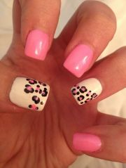 cute pink white and leopard nail