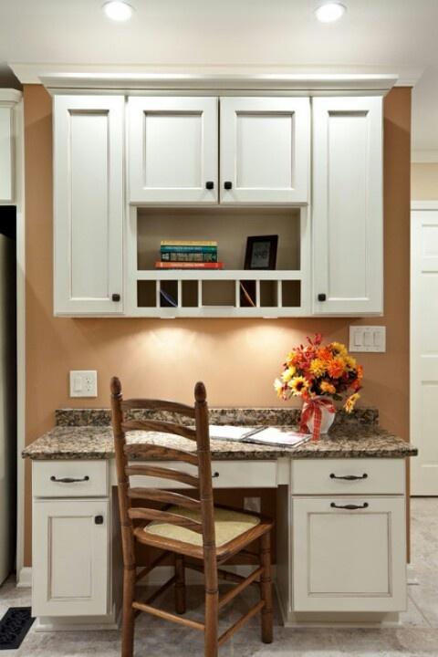 Builtin kitchen desk  Kitchen ideas  Pinterest  Dark