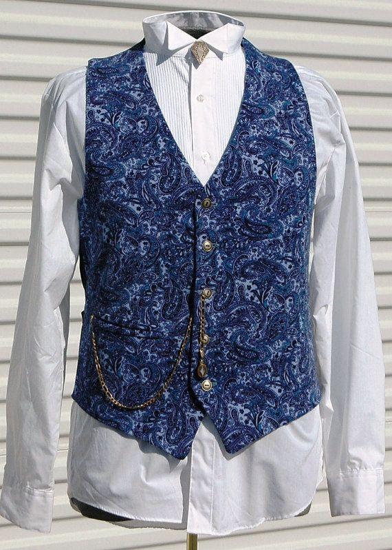 Mens Size 38 Royal Blue Paisley Steampunk Vest  Vests