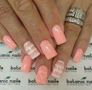 pink nails. peach color nails