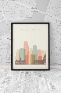 Minneapolis skyline, Print, Printable Poster, Wall Art ...