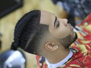 man braids with taper fade step
