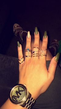 Olive green coffin nails | Nails | Pinterest | Coffin ...