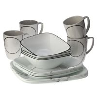 Corelle Square 16pc Dinnerware Set Simple Lines