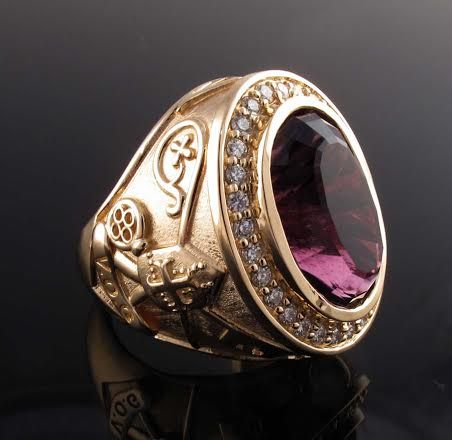 Bishops ring with genuine amethyst and diamond melee
