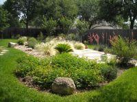Backyard landscape - island of native plants surrounding a ...