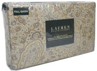 RALPH LAUREN Paisley FULL QUEEN DUVET COVER 3pc Set Taupe ...