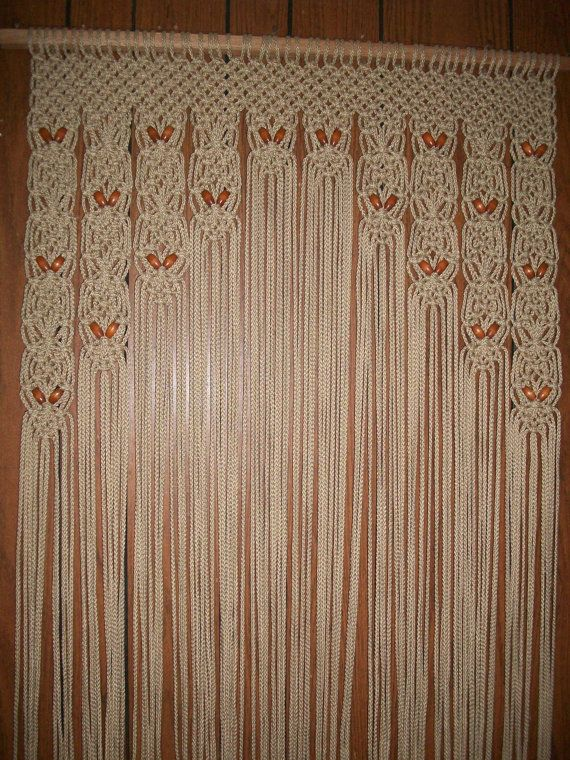 Private Listing For Rhderderian Wood Beaded Arch Door Decor Curtain Made In A Macrame Weave With