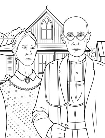 American Gothic by Grant Wood coloring page from Famous