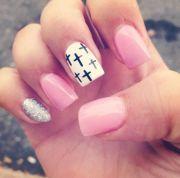 cute nails pink cross nail