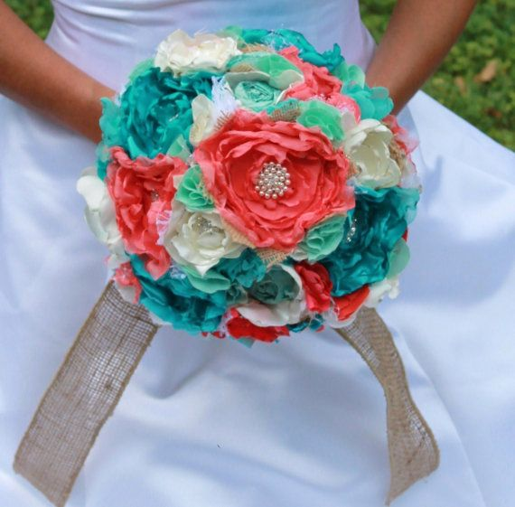 Ivory Coral turquoise mint and burlap romantic heirloom
