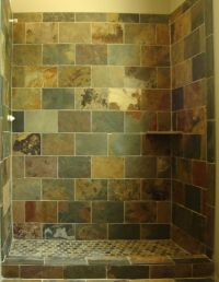 Shower tile-slate, with brick pattern design | Client: JS ...