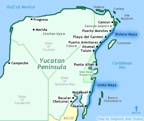 Map Of Yucatan Showing Cancun Playa Del Carmen Riviera