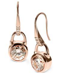 Michael Kors Earrings, Rose Gold-Tone Silk Padlock Drop ...
