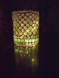Lantern, hurricane lamp, stained glass mosaic luminaria