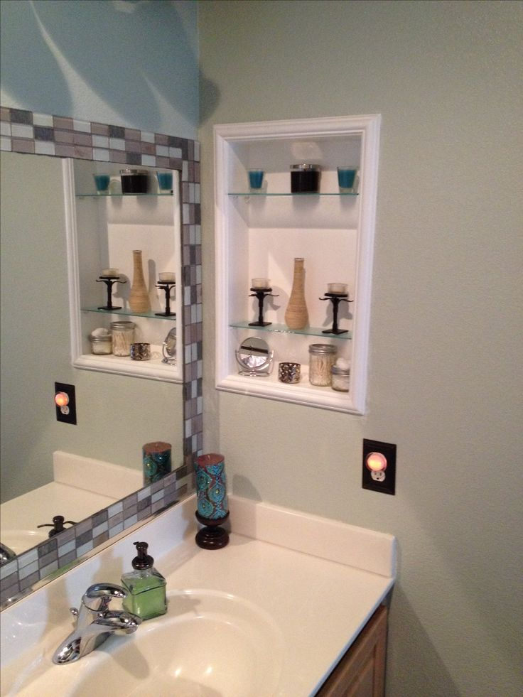 kitchen shelves ideas linen curtains framed medicine cabinet & tile around standard mirror ...