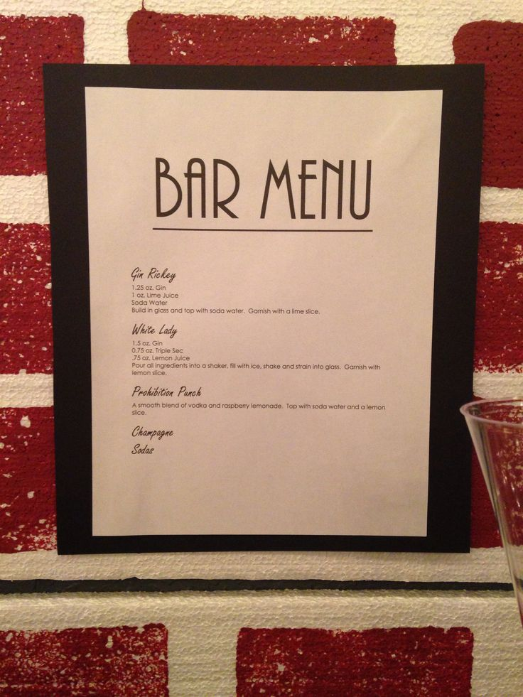 My Roaring 20s Party Bar Menu My Dirty Thirty Party