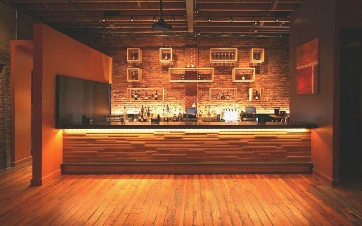 Interior Wood Slat Recycled Wood Panelling In Modern Bar