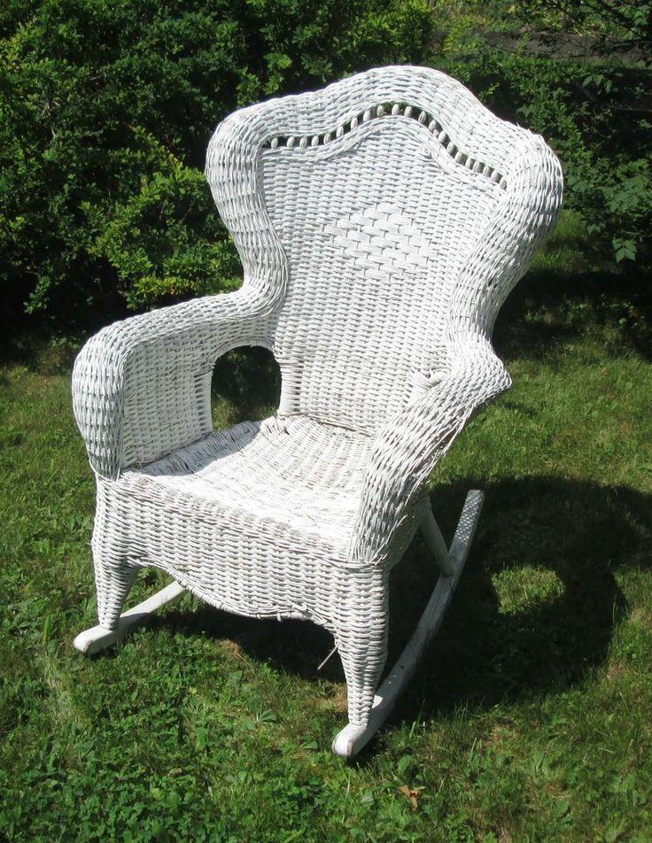 Fabulous White Wicker Rocking Chair  Wicker Wrought Iron