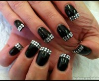 black nail designs with rhinestones 236 best images about ...