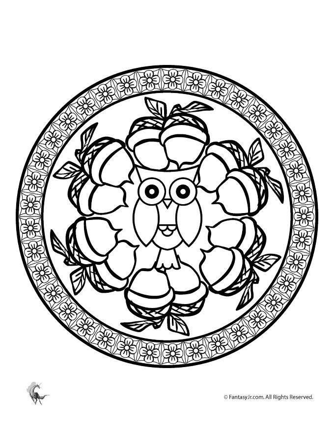 Fall Mandala Coloring Pages for Kids and Adults Fall Owl