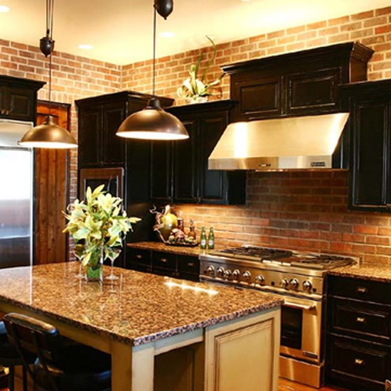 Dark Cabinets With Granite And Brick Dream Kitchen Maybe
