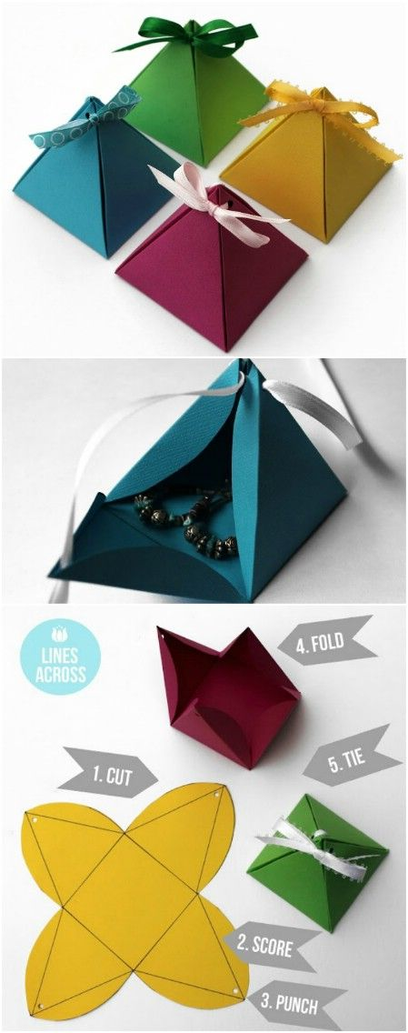 Origami pyramid gift boxes. – 40 Amazing Christmas Gift Wrapping Ideas You can Make Yourself