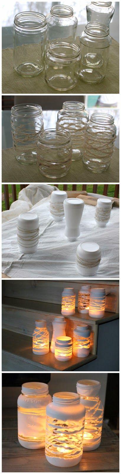 joybobo: yarn wrapped painted jars