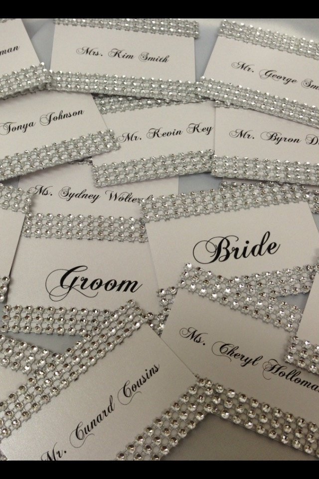 Rhinestone Bling Wedding Place card Escort Card holders with any color bow 200 via Etsy