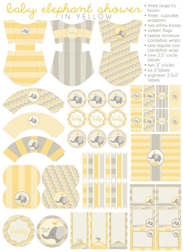 DIY PDF Printable Yellow Baby Shower, Party Package, Baby Elephant Shower, Girls