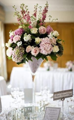 Wedding Flowers Glamorously grand Martini vase display