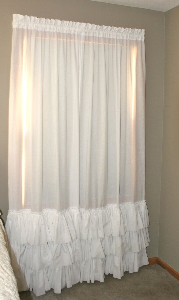 White Triple Ruffled PAIR Curtain Panels Heirloom Shades Up  Co  Antique glass Pottery and