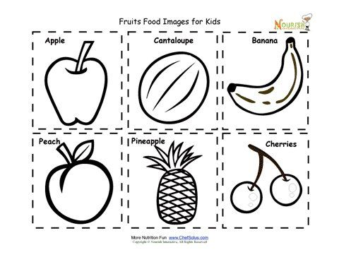 Fruit food cards for children. Food images for kids to cut
