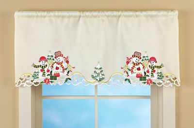 red valances for kitchen windows real wood cabinets costco embroidered snowman couple window valance | ...