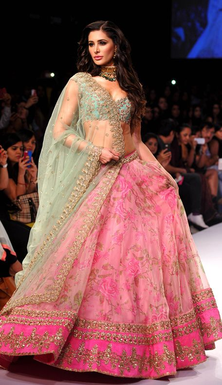 """The beautiful actress and model Nargis Fakhri walked the ramp for Designer Anushree Reddy who presented her collection """"Portobello – The Indian Chapter"""" at Lakme Fashion Week Winter Festive 2014. Read more about Lakme Fashion Week on my blog - bigfatasianwedding.com!"""