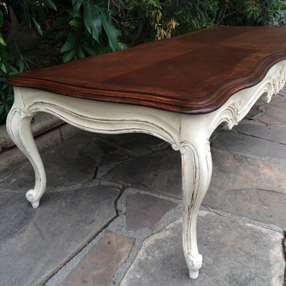 Available  French Provincial Solid Wood Long Coffee Table Refinished and Painted Living