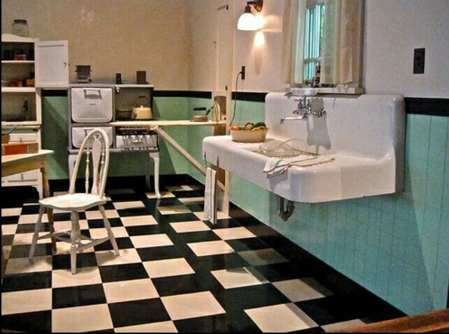 triple sink kitchen and bath stores 1920's - 1930's w/checkerboard floor   home ...