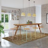 Modern Rustic Mid Century (2.5m) High Bench Table, Kitchen ...
