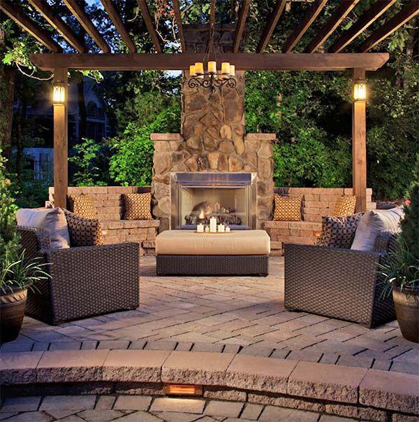 Interesting Patio Design Ideas Fireplace