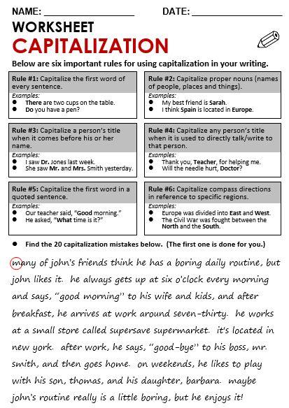 Six important rules of capitalization. | Grammar | Pinterest