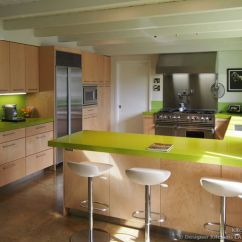 White Lacquer Kitchen Cabinets Pans Modern Maple With Green Caesarstone Countertops ...