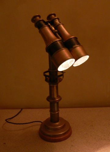 Unique Desk light made from antique binoculars Upcycled