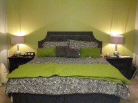 Black silver and lime green master bedroom. Diy headboard ...