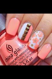 stud & floral coral nail art