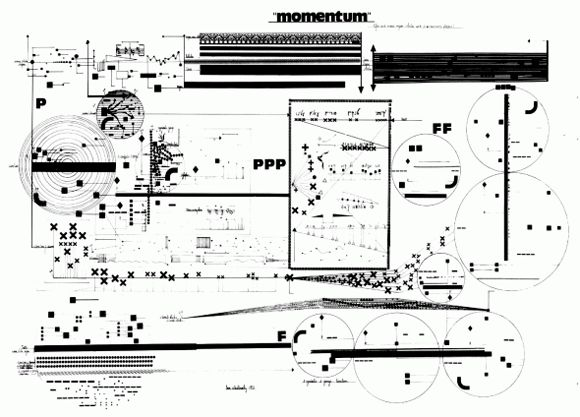 Graphic notation of Momentum (1973) by Leon Schidlowsky